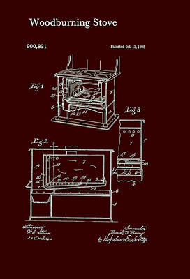 Wood Burning Stove Patent 1908 Art Print