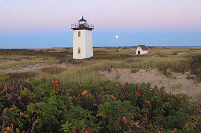 Photograph - Wood End Lighthouse Cape Cod Moonrise by John Burk