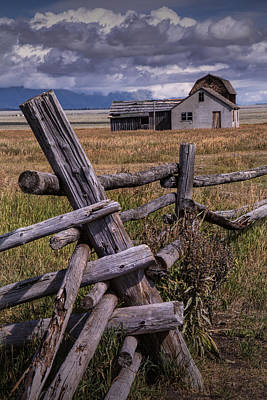 Brown Tones Photograph - Wood Fence With John Moulton Farm  by Randall Nyhof