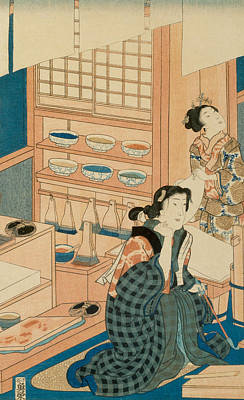 Process Painting - Woodblock Production by Japanese School