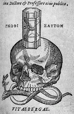 Woodcut Of Skull, Snake And Hourglass Art Print