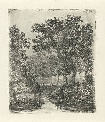 Shed Drawing - Wooded Area With Streams, Hermanus Jan Hendrik Van by Hermanus Jan Hendrik Van Rijkelijkhuysen