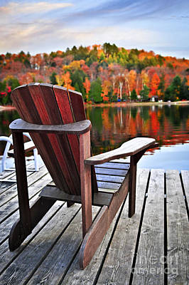 Christmas Christopher And Amanda Elwell - Wooden chair facing autumn lake by Elena Elisseeva