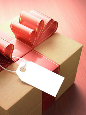 Gift Tag Photograph - Wooden Gift Box by Ktsdesign