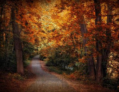 Fall Landscape Digital Art - Woodland Trail by Jessica Jenney