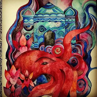 Octopus Wall Art - Photograph - Work In Progress #watercolor #painting by Megan Smith
