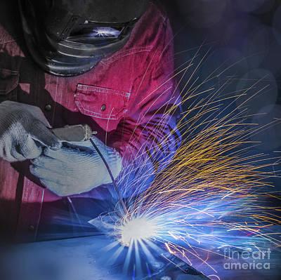 Metal Fabrication Photograph - Worker Welding by Anek Suwannaphoom