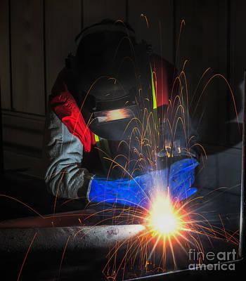 Worker Work Hard With Welding Process  Art Print by Anek Suwannaphoom