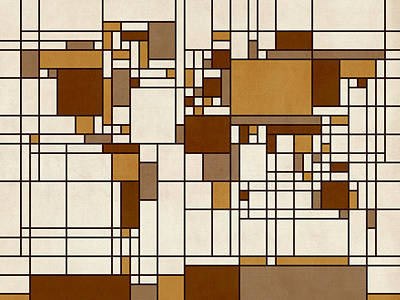 Abstract Map Digital Art - World Map Abstract Mondrian Style by Michael Tompsett