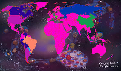 Digital Art - World Map And Scorpio Constellation by Augusta Stylianou