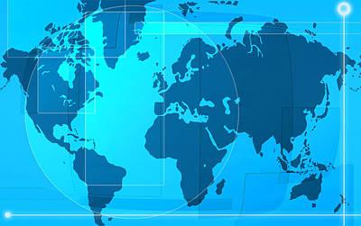 Stylish Map Digital Art - World Map by Modern Art Prints