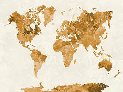 Globe Painting - World Map In Watercolor Orange by Pablo Romero
