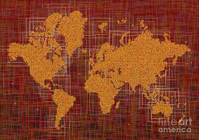 World Map Rettangoli In Orange Red And Brown Art Print by Eleven Corners