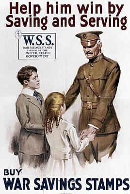 Saving Painting - World War I Savings Stamp by Granger