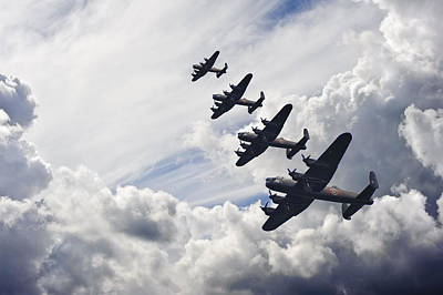 Flight Formation Photograph - World War Two British Vintage Flight Formation by Matthew Gibson