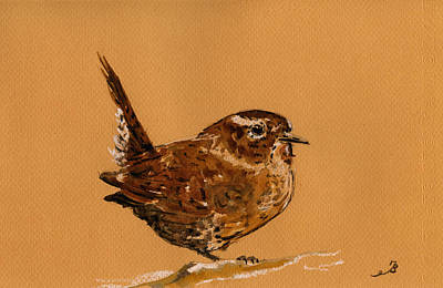 Wrens Painting - Wren Bird by Juan  Bosco