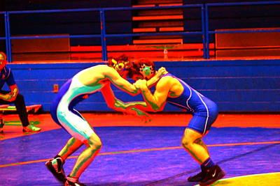 Wrestlers Grappling For A Hold By Earl's Photography Art Print by Earl  Eells a