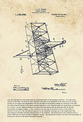 Digital Art - Wright Brothers Flying Machine Patent by Marlene Watson