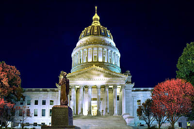 Photograph - Wv Capitol At Night by Mary Almond