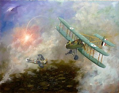Www1 Painting - Www1 Dogfight by Derek Walsom