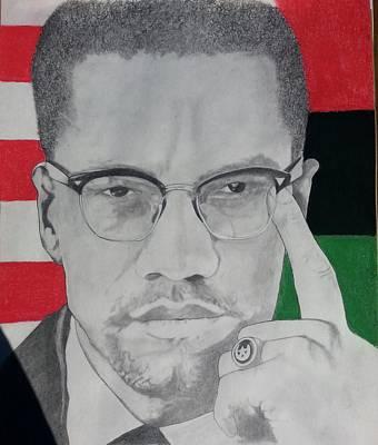 Malcolm X Drawing - X-factor by b jAXON