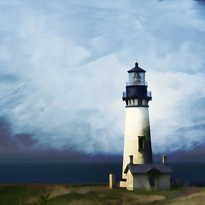 Yaquina Head Light Art Print by Carol Leigh