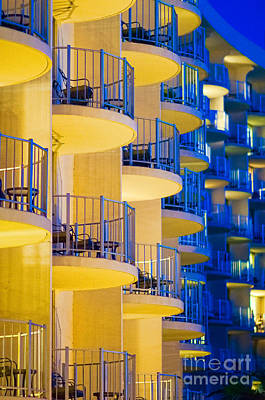 Photograph - Yellow And Blue Hotel Balcony Abstract. by Don Landwehrle