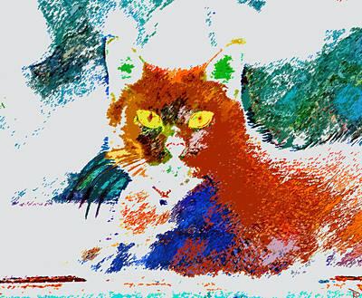 Pets Art Digital Art - Yellow Eyes by David Lee Thompson