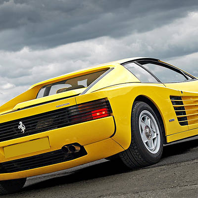 Photograph - Yellow Fever - Ferrari Testarossa Square by Gill Billington