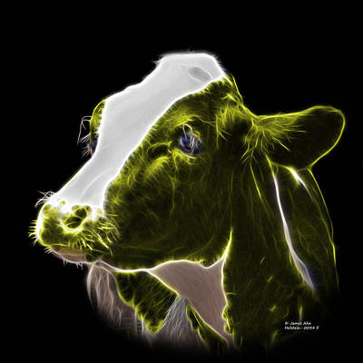Animal Lover Digital Art - Yellow Holstein Cow - 0034 F by James Ahn