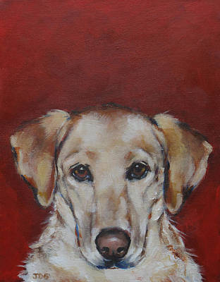 Gold Labrador Painting - Yellow Lab by Julie Dalton Gourgues