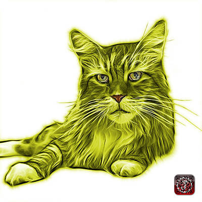 Painting - Yellow Maine Coon Cat - 3926 - Wb by James Ahn