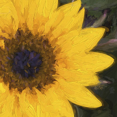 Impressionistic Digital Art - Yellow Sunflower Painterly by Carol Leigh
