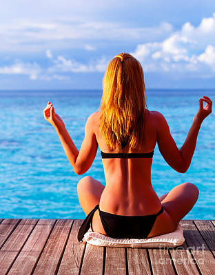 Woman Doing Yoga Photograph - Yoga Exercise On Seashore by Anna Om