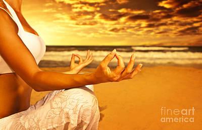 Woman Doing Yoga Photograph - Yoga Meditation On The Beach by Anna Om