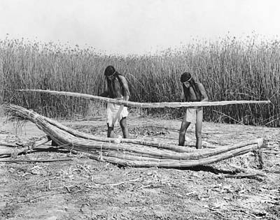 Indigenous Culture Photograph - Yokuts Making Tule Boats by Underwood Archives Onia