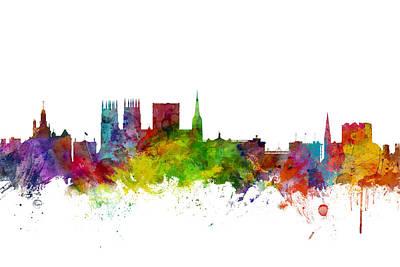 Great Digital Art - York England Skyline by Michael Tompsett