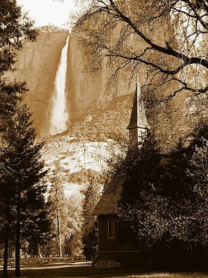 Photograph - Yosemite Chapel And Falls by Jeff Lowe