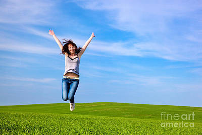Jump Photograph - Young Beautiful Woman Jumping For Joy by Michal Bednarek