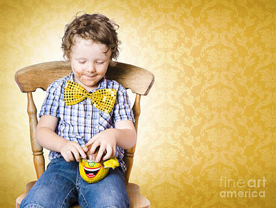 Preschool Photograph - Young Boy Unwrapping Easter Egg Present by Jorgo Photography - Wall Art Gallery