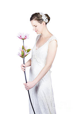Youthful Photograph - Young Bride With Flowers by Jorgo Photography - Wall Art Gallery