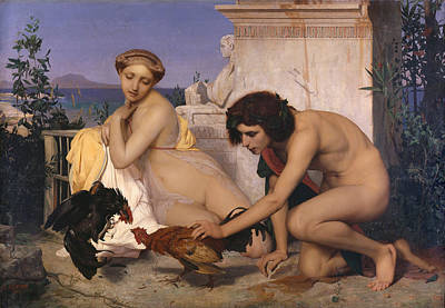 Young Greeks Attending A Cock Fight Art Print by Jean-Leon Gerome