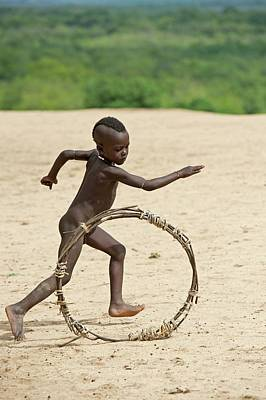 Boy Nude Photograph - Young Karo Boy With Home Made Toy Hoop by Tony Camacho