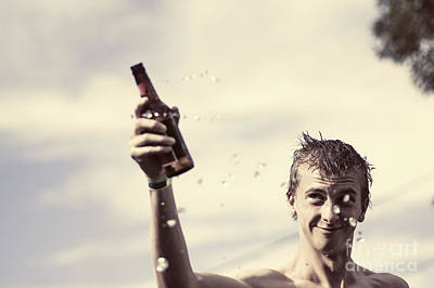 Beer Photos - Young man in 20s holding beer at Australian bbq by Jorgo Photography - Wall Art Gallery