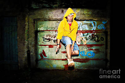 Motion Photograph - Young Man Jumping On Grunge Wall by Michal Bednarek
