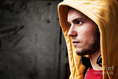Artistic Hooded Portrait Photograph - Young Man Portrait On Graffiti Grunge Wall by Michal Bednarek