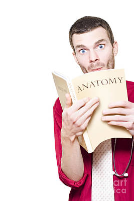 Young Medical Intern Student Studying Anatomy Book Art Print