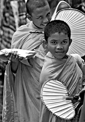 Thailand Photograph - Young Monks Bw by Steve Harrington