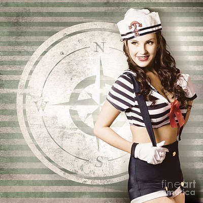 Young Sailor Pin Up Girl On Travel Cruise Compass Art Print