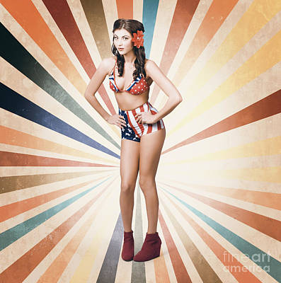 Pinup Girl Photograph - Young Sexy Brunette Woman. Vintage Makeup And Hair by Jorgo Photography - Wall Art Gallery